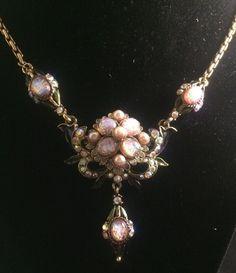 Vintage Rhinestone Enamel Faux Pearl Flower Necklace Faux Opal Hollycraft Style