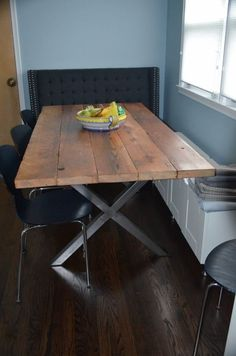 How about this for a table? - DIY: Buy metal legs from TRRTRY on Etsy and make a reclaimed wood tabletop to get a custom modern rustic dining table. TRRTRY also has metal legs for coffee tables. Some items distressed. Modern Rustic Dining Table, Reclaimed Wood Dining Table, Dining Room Table, Wood Table, A Table, Steel Furniture, Home Furniture, Industrial Furniture, Furniture Plans
