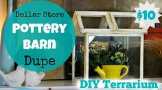This Pottery Barn inspired wooden terrarium was made using picture frames from The Dollar Tree! Make this Pottery Barn Hack with every from The Dollar Store. Just 8 picture frames and some paint I already owned made this super cute mini greenhouse! I  having a little …