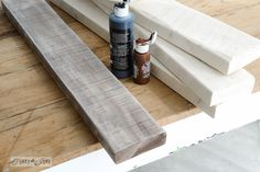 Staining+boards+with+acrylic+paint+/+Make+a+stepladder+side+table+via+FunkyJunkInteriors.net