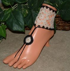 Crochet Anklet Cuff Barefoot Sandals Ankle by gilmoreproducts33, $17.00