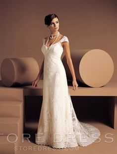 A-line Sweetheart Chapel Train Capped Satin Plus Size Wedding Dress For Brides - Storedress.com