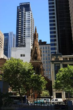 Old church meets new buildings - Sydney, New South Wales, Australia Hotels, Old Churches, Exotic Places, The Beautiful Country, What A Wonderful World, Greatest Adventure, Sydney Australia, South Wales, Countries Of The World