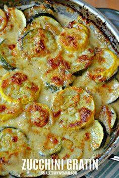 Recipes Breakfast Vegetarian Zucchini and Yellow Squash Au Gratin Zuchinni Recipes, Veggie Recipes, Low Carb Recipes, Recipe Zucchini, Vegetarian Recipes, Cooking Recipes, Healthy Recipes, Vegetable Gratin Recipes, Garden Vegetable Recipes