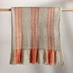 SUNSET STREAK THROW -- For the couch, the reading chair, or over your shoulders. Hand loomed by traditional craftspeople in rural areas of India. Raised mohair of wool/acrylic/nylon. Fringe on two ends. Rural Area, Cotton Bedding, Cozy Blankets, Textiles, India, Traditional, Wool, Sunset, Elegant