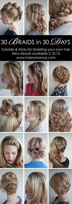 30 Braids in 30 Days Tutorials – the new ebook – Hair Romance The hairstyle challenge is going to become an ebook! The ebook will launch on – stay tuned and check Hair Romance for more details. @ The Beauty ThesisThe Beauty Thesis Pretty Hairstyles, Braided Hairstyles, Style Hairstyle, Quick Hairstyles, Updo Hairstyle, Braided Updo, Wedding Hairstyles, Waterfall Hairstyle, Boho Braid