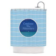 "Deepti Munshaw ""Continue The Adventure"" Blue Aqua Shower Curtain"