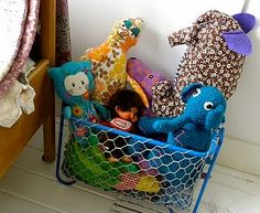Gorgeous fabric toys in simple wire storage