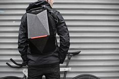 Blackpack Cycling Backpack by William Root Inspired by a turtle's protective shell, the Blackpack incorporates clever innovative features to protect you and your belongings from the dangers of the. Cycling Backpack, Backpack Bags, Leather Backpack, Leather Jacket, Leather Bags, Victor Hugo, Back Bag, Panzer, Kids Backpacks