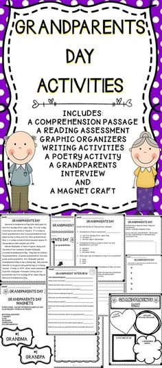 Grandparents Day Activities For The Classroom - Celebrate Grandparents Day With Activities To Help Students Develop Their Reading Comprehension Skills and Writing Skills.