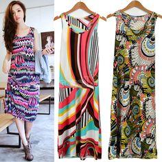 Women's Exotic Bohemia Sleeveless Round Neck Vest Skirt Long Beach Dress Sundress-Dresses-Shop DRESSLINK.COM is an online shopping store offers cheap women clothes and baby clothes