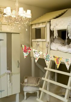 shabby chic, little girl's fort bed & bedroom