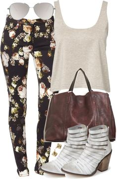 A fashion look from April 2015 featuring pleated top, floral jeans and gray bootie. Browse and shop related looks. Teen Wolf Fashion, Teen Wolf Outfits, Teenager Outfits, Work Fashion, Fashion Outfits, Fashion Hacks, Grey Booties, Cute Casual Outfits, Summer Outfits