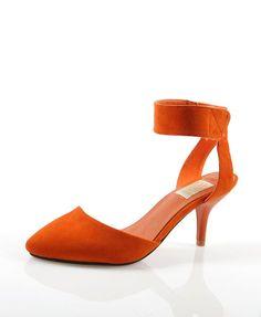 Orange Suede Velcro Point Heeled Shoes