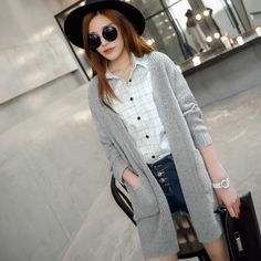 2015 spring women's V -neck knit cardigan pocket hollow twist USD$17.39