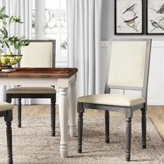 Peterborough Upholstered Dining Chair & Reviews | Birch Lane Farmhouse Dining Chairs, Solid Wood Dining Chairs, Dining Nook, Kitchen Chairs, Upholstered Dining Chairs, Dining Chair Set, Dining Room Chairs, Dining Furniture, Furniture Making