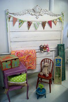Fabric Banner & Headboard idea for the girls room