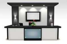 """MODERN OFFICE FURNITURE """"PARAGON"""" RECEPTION DESK PARAGON Modern Reception Desk will suit to your office or lobby need. You can put your own logo or image in front of the desk or add your own advertisement images to LCD monitor on the backboard. The set comes with everything displayed in the picture: - Desk and Back-front - LCD Monitor (with image fader) on the wall - Office Chair (with 4 animation) - Cabinet Drawers  - Elegant Wall Lights"""
