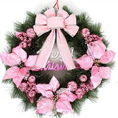 Fancy Pink Christmas Decorative Wreath