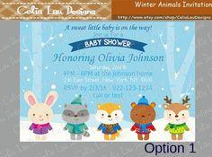 Winter Animal Baby Shower Invitation by CeliaLauDesigns on Etsy