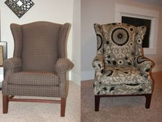How to reupholster a wingback chair. We have an ancient pleather wingback chair, now I just need to come up with some fabric and some courage!