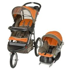 This Baby Trend Expedition Jogger Travel System features the collection Orange Oak, which uses a bright hue of orange balanced with a chocolate brown light accents. This is a great jogger that includes an EZ Flex-Loc infant car seat and a base. The infant car seat accommodates 5~30 pounds and heights of 30 inches or less. To the front of the jogger, there is a lockable front swivel wheel for easy maneuverability