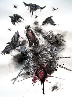 raven wolf tattoo - Google Search