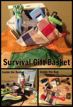 My husband is hard to buy for but loves camping, hiking, etc. So I made him a basket with a few things he didn't have that he could possible use. And it all fit in the drawstring bag! :)