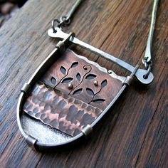 Metalsmith Fold Formed Copper & Silver Shadow Box Necklace - Cut Out Leaves And…