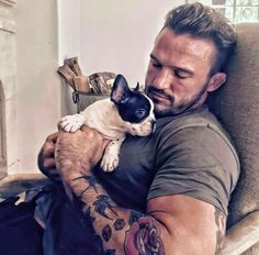 French Bulldog Puppy and Tatted Dad, too cute.