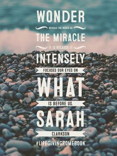 #SallyClarkson #lifegivinghomebook  Today enjoy the miracle of wonder