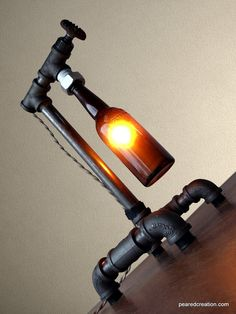 Industrial Brewery Lamp - Bottle Lighting - Steampunk Fixture - Faucet Switch - Table Lamp Furniture - Bar Decor