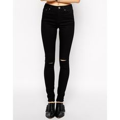 ASOS Ridley Skinny Jeans in Clean Black with Displaced Ripped Knees ($46) ❤ liked on Polyvore featuring jeans, pants, bottoms, pantalon, washed black, high rise skinny jeans, high-waisted jeans, high-waisted skinny jeans, high waisted ripped skinny jeans and ripped jeans