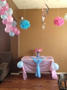 Treat table and area.... Hanging fluff balls & spirals