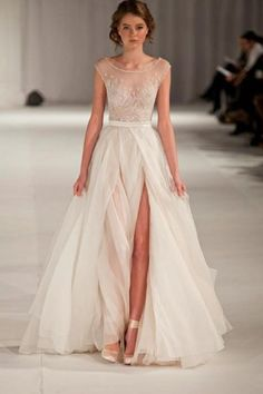 2014 Sexy&Elegant Scoop Neckline Cap Sleeve Prom Dress Beaded Sheer Bodice With High Slit
