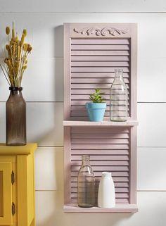 Home Decor - Repurposed Shutter Shelfwith FolkArt MilkPaint