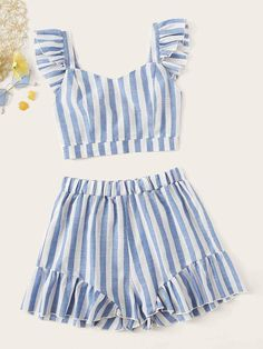 To find out about the Striped Top With Ruffle Hem Shorts at SHEIN, part of our latest Two-piece Outfits ready to shop online today! Girls Fashion Clothes, Teen Fashion Outfits, Girly Outfits, Girl Fashion, Clothes For Women, Fashion Black, Fashion Ideas, Really Cute Outfits, Cute Summer Outfits