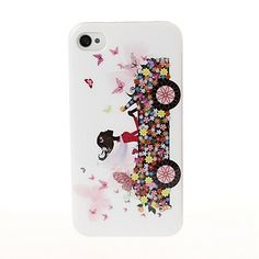 Skønhed pige i bilen mønster plast hårdt Case for iPhone 4/4S – DKK kr. 32