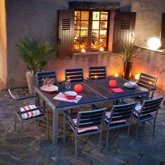 Salon de jardin Alu / Composite : Table 213x103cm + 8 Fauteuils empilables LAMIA