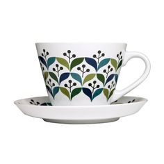 Sip your favorite tea or coffee from this retro-inspired cup and saucer set. Its repeating print adds flair to any kitchen—and because it's made from stoneware, it's easy to clean. Drink up!  Find the 2-Pc. Retro Print Mug & Saucer, as seen in the The Retro Boutique Collection at http://dotandbo.com/collections/holiday-boutiques-the-retro-boutique?utm_source=pinterest&utm_medium=organic&db_sku=SAG0112
