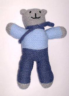 Charity bear made by Blue Light Babies, UK, for yarndale.co.uk Teddy Bear Knitting Pattern, Crochet Teddy, Crochet Bear, Knitting Patterns, Large Teddy Bear, Charity, All In One, Bears, Dinosaur Stuffed Animal