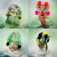 Norwegian artist Damselfrau creates exotic looking masks out of found materials and textiles. Wig Hat, Creative Textiles, Fashion Mask, Masks Art, Mask Making, Headdress, Mardi Gras, Textile Art, Masquerade
