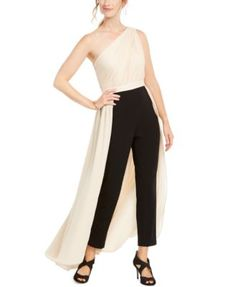 Adrianna Papell Crepe Jumpsuit In Black/nude Leggings Are Not Pants, Women's Leggings, One Shoulder Jumpsuit, Unisex Baby Clothes, Review Dresses, Black Jumpsuit, Adrianna Papell, Jacket Dress, Special Occasion Dresses