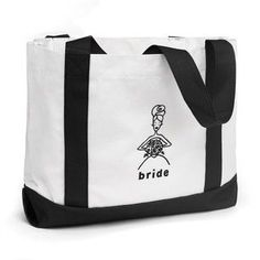 Bride White Wedding Party Tote Bags