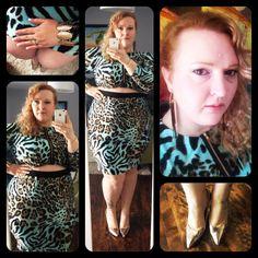 Www.flightofthefatgirl.com   Monif C. faux crop top dress, Payless shoes. Blue leopard print.   Plus size fashion.