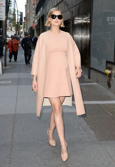 Stick With a Neutral: Rosamund Pike opted for head-to-toe nude with her dress, Marni jacket, and Louis Vuitton shoes, and the neutral hue helped make her overall look much more palatable. Though, come on, swap those pesky black sunglasses for — at the very least — a pair of tortoise-shell frames!