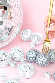 Save this New Year's Eve party idea to make a dozen DIY Disco Ball Donut Holes.