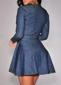 Blue Denim Ruched Neck Long Sleeve A Line Dress. -only $37!! WE SHIP WORLDWIDE AND FREE IN THE U.S. via our eBay store at: www.stores.ebay.com/theofferbazaar. Purchase securely via our web store at: www.lilypadclothing.com. Follow us on Pinterest at. www.pinterest.com/lilypadclothing