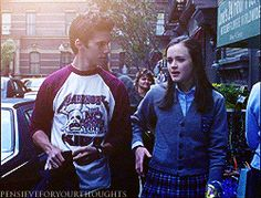 Rory: I'm just saying I'm no stranger to The Big Apple.  Jess: You are if you're calling it The Big Apple.  Rory: So I don't have the lingo down yet, but at least I have the attitude.  Jess: You do, huh?  Rory: Oh, yeah. When I was getting a locker for my back pack at the bus stop, there was this guy and he was just standing there, staring at me. And instead of ignoring him I just fixed him with a really withering stare.  Jess: Now, that I gotta see.