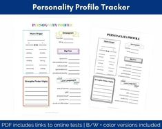 Personality Test Record | Personality Test Tracker Kids Planner, Project Planner, Journal Prompts For Kids, Project Planning Template, Strengths Finder, Conversation Cards, Personality Profile, Online Tests, Family Organizer